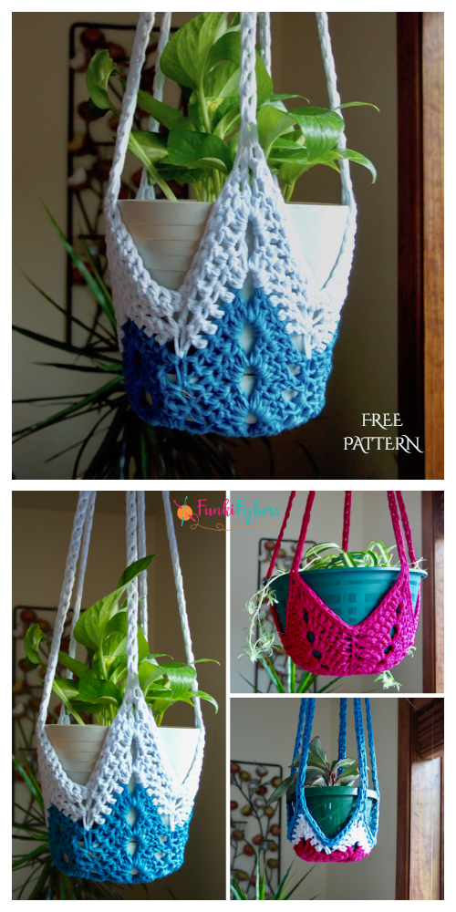 Never Ending Star Easy Planter Hanger Free Crochet Patterns