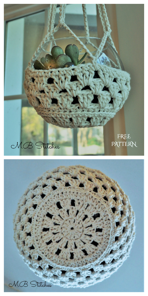 Easy Granny Planter Hanger Free Crochet Patterns