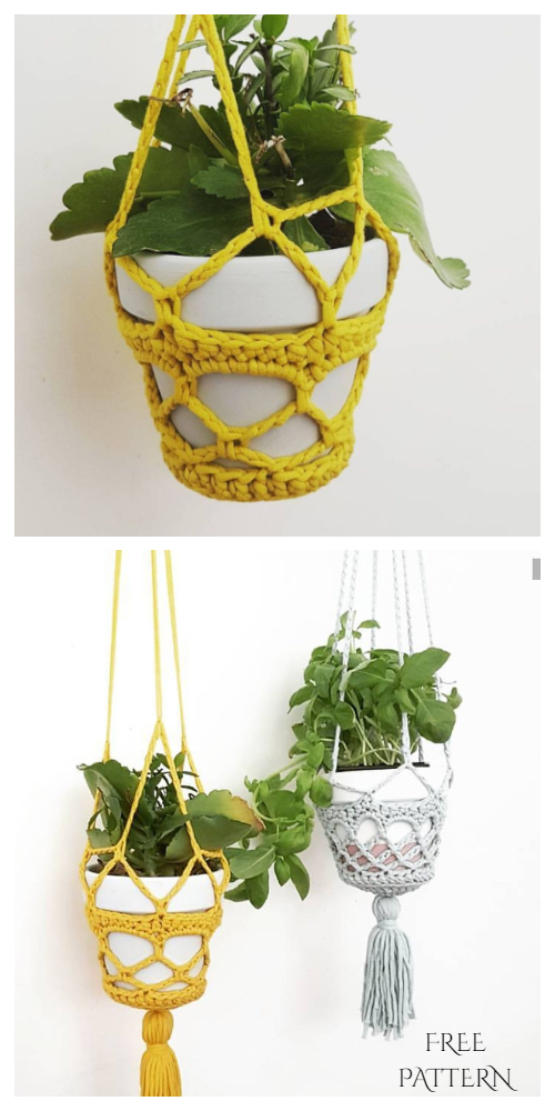 Easy Pot Planter Hanger Free Crochet Patterns
