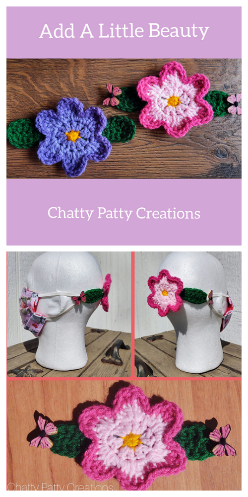 Quick Flower Mask Holder  Crochet Patterns