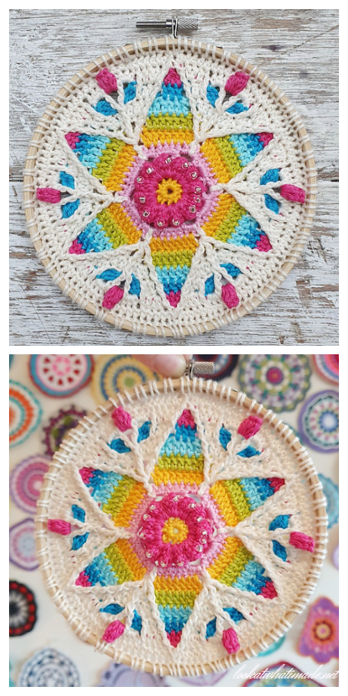 Scrap Yarn Fancy Rainbow Mandala Free Crochet Patterns