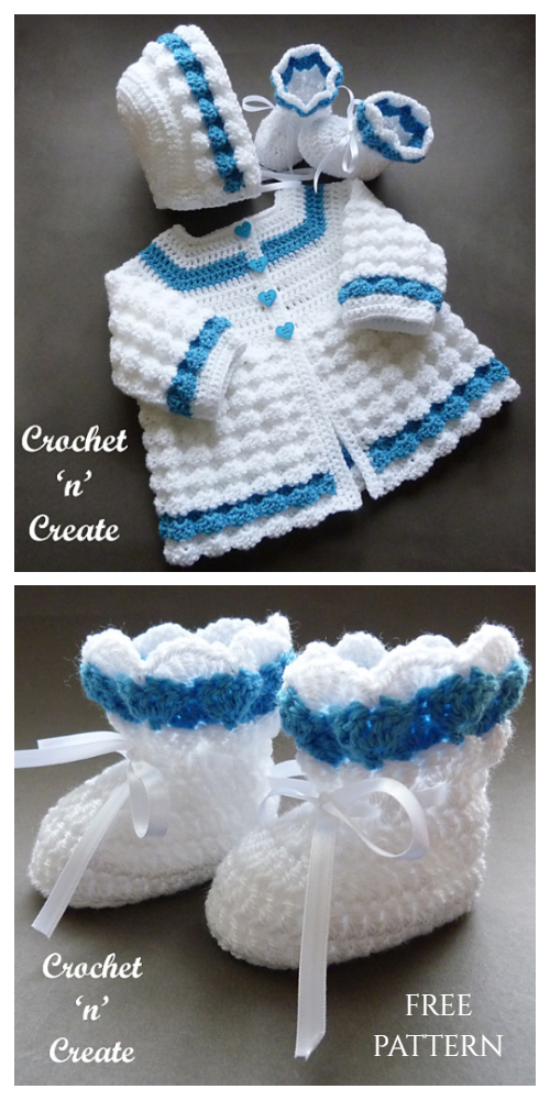 Raised Shell Baby Outfit Set Free Crochet Patterns