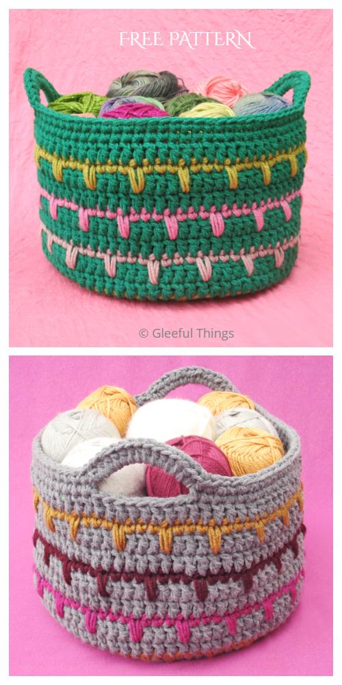 Spike Stitch Basket Free Crochet Patterns