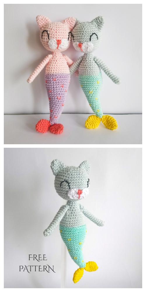 Amigurumi Mermaid Cat Doll Free Crochet Patterns