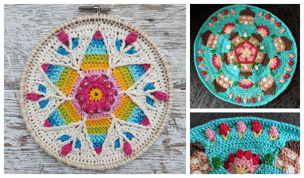 Scrap Yarn Rainbow Mandala Free Crochet Patterns