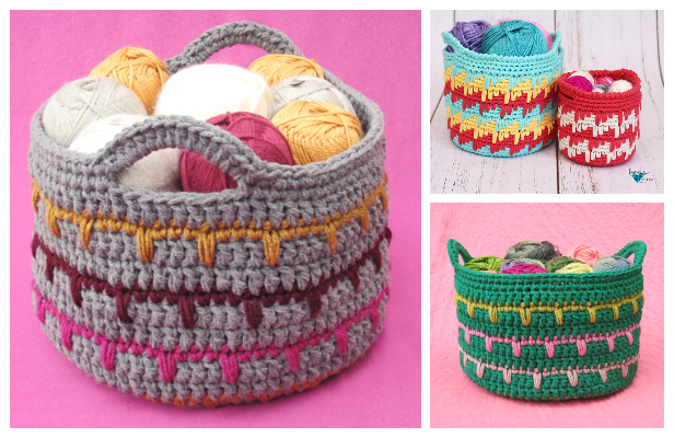 Spike Stitch Basket Free Crochet Patterns
