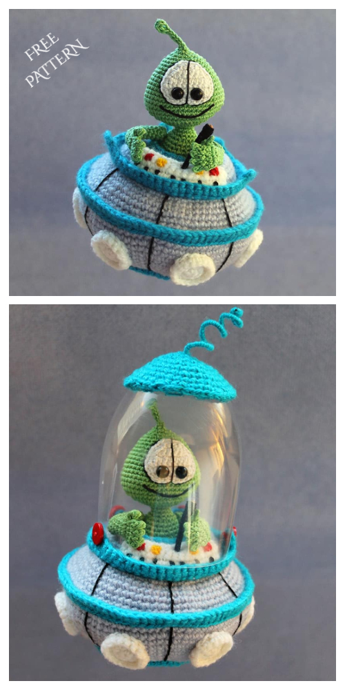 Amigurumi Little Martian Space Alien in Saucer Pan Free Crochet Patterns