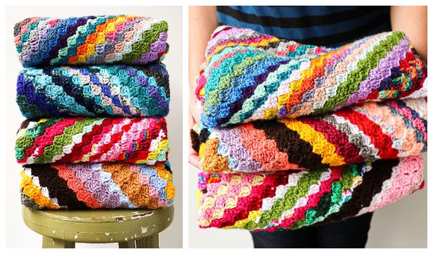 C2C Scrappy Blanket Free Crochet Pattern