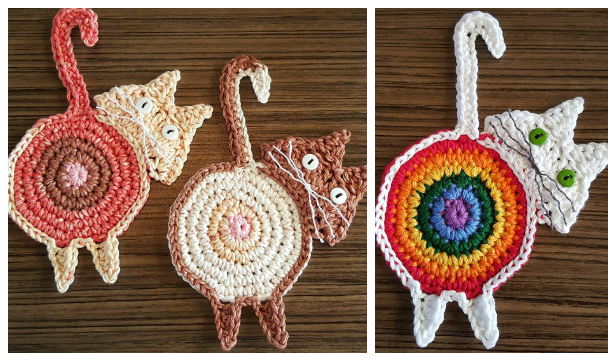 Cat Butt Coaster Free Crochet Patterns