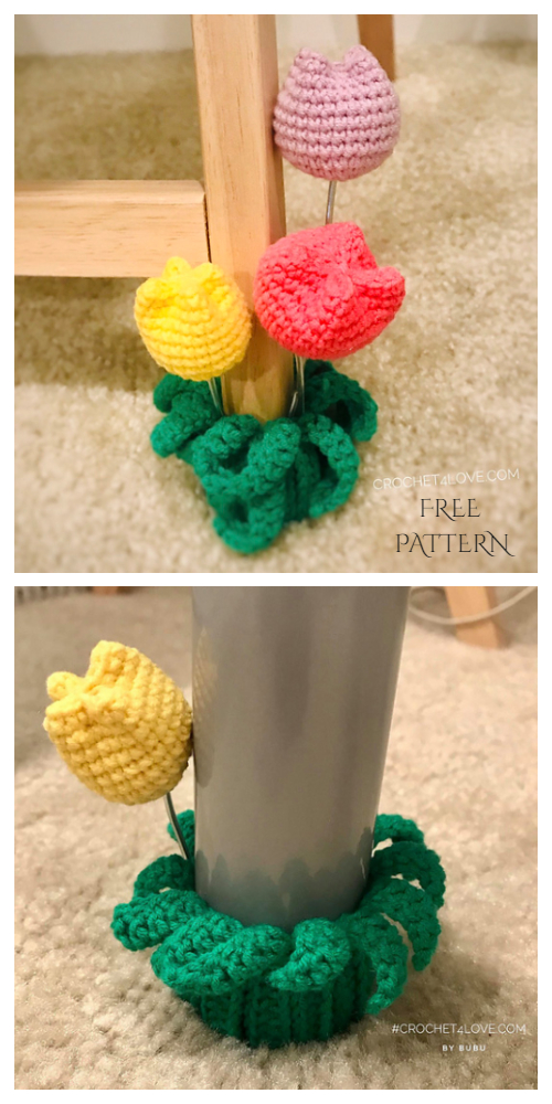 Scrap Yarn Tulip Chair Leg Socks Free Crochet Patterns