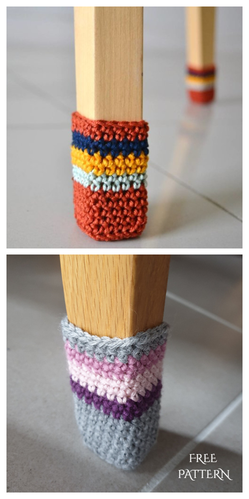 Quick Scrap Yarn Chair Leg Socks Free Crochet Patterns