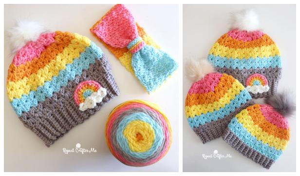 Cluster V-stitch Hat Free Crochet Patterns
