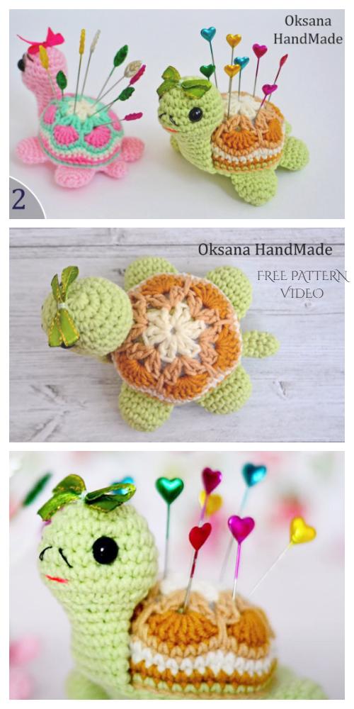 Crochet African Flower Turtle Amigurumi Free Pattern + Video