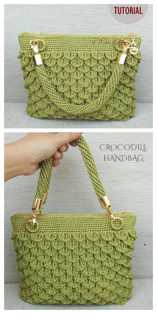 Crocodile Stitch Handbag Free Crochet Pattern + Video