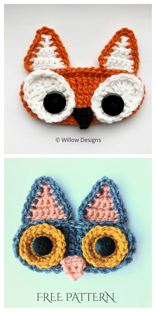 Fun Animal Face Mask Ear Saver Free Crochet Patterns - fox&cat