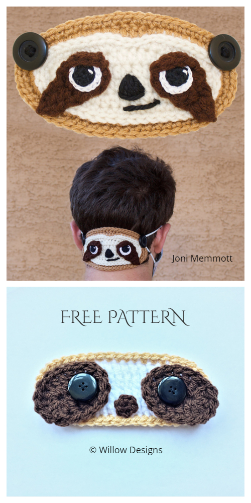Fun Sloth Face Mask Ear Saver Free Crochet Patterns