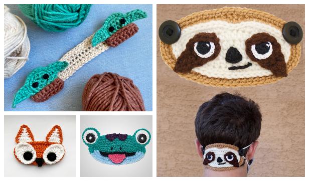 Fun Animal Face Mask Ear Saver Free Crochet Patterns - fox&cat
