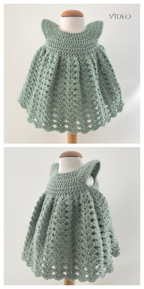 Girls Shell Stitch Dress Crochet Patterns + Video