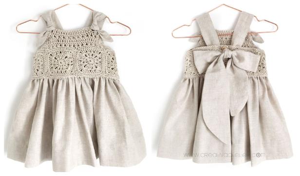 Granny Square Fabric Dress Yoke Free Crochet Patterns