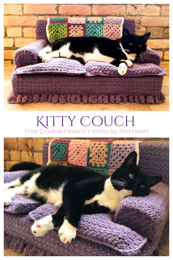 Kitty Couch Bed Free Crochet Pattern + Video