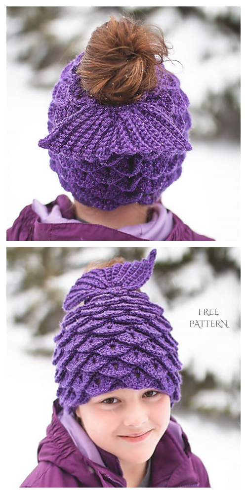 Mermaid Messy Bun Hat Free Crochet Pattern
