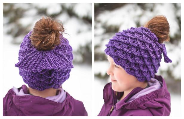 Mermaid Messy Bun Hat Free Crochet Pattern