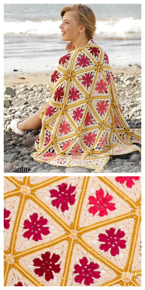 Spring Daze Triangle Blanket Free Crochet Patterns