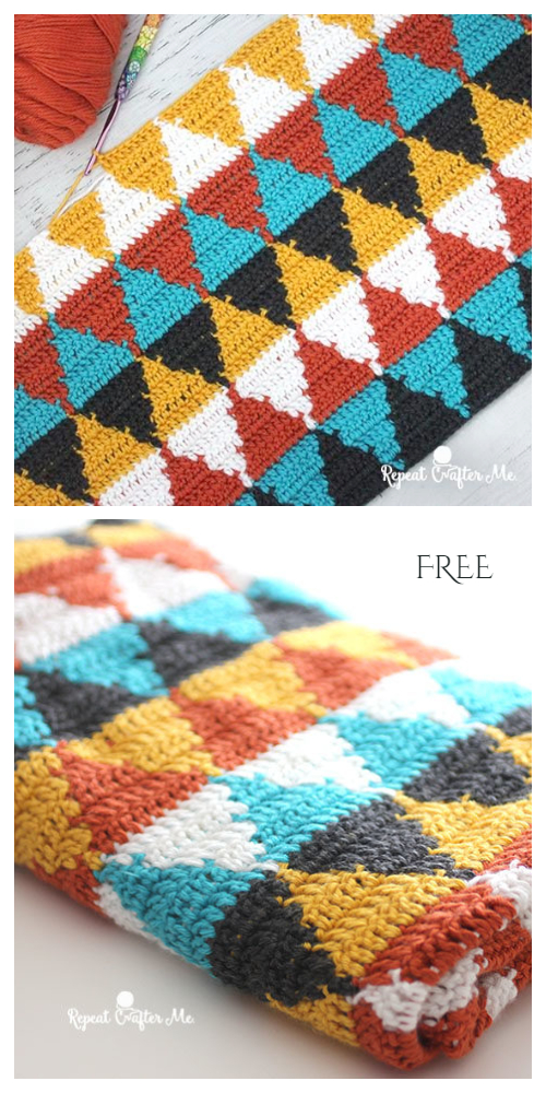 Triangle Blanket Free Crochet Patterns