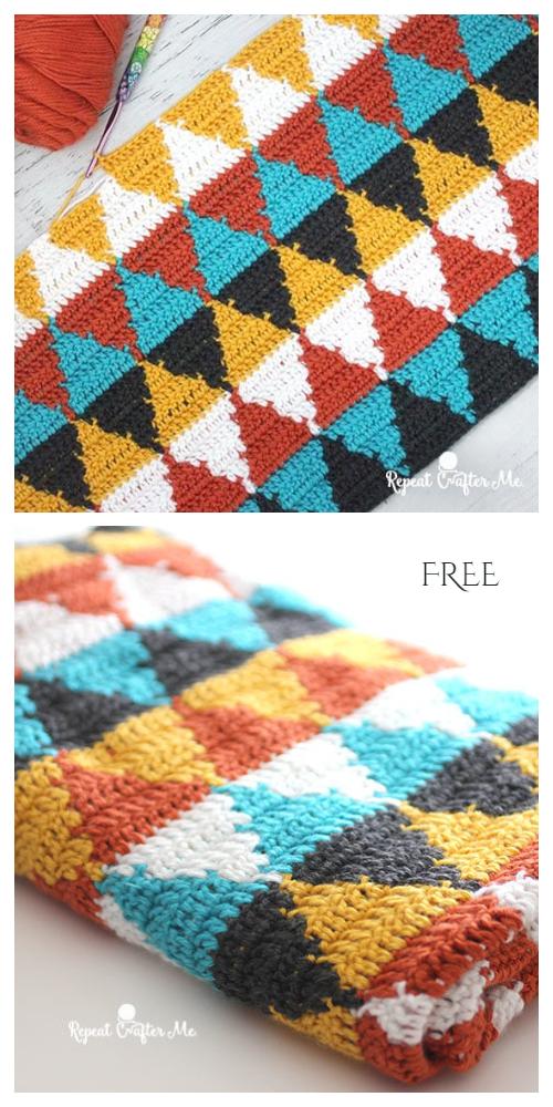 Triangle Blanket Free Crochet Patterns