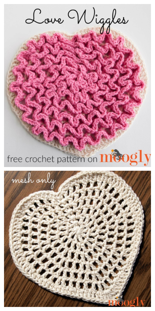 Love Heart Wiggly Pad Free Crochet Patterns