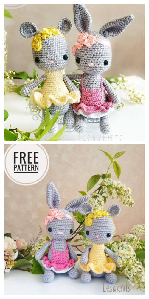 Amigurumi Bunny&Mouse in Dress Free Crochet Patterns