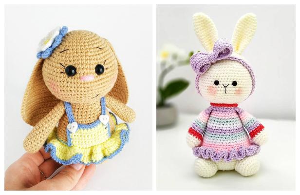 Plush bunny in dress amigurumi | Amiguroom Toys | 400x616