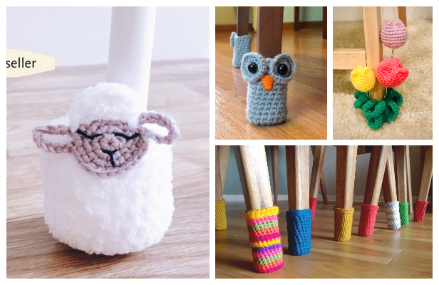 Quick Scrap Yarn Chair Leg Socks Free Crochet Patterns
