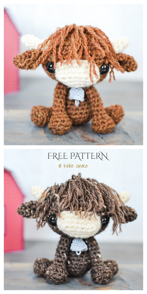 Crochet Highland Cow Amigurumi Free Patterns + Video