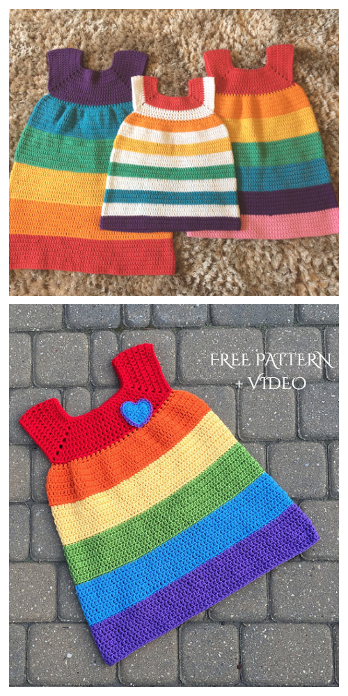 Rainbow Dress Free Crochet Patterns + Video