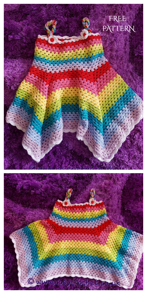 Rainbow Granny Stripe Summer Dress Free Crochet Patterns