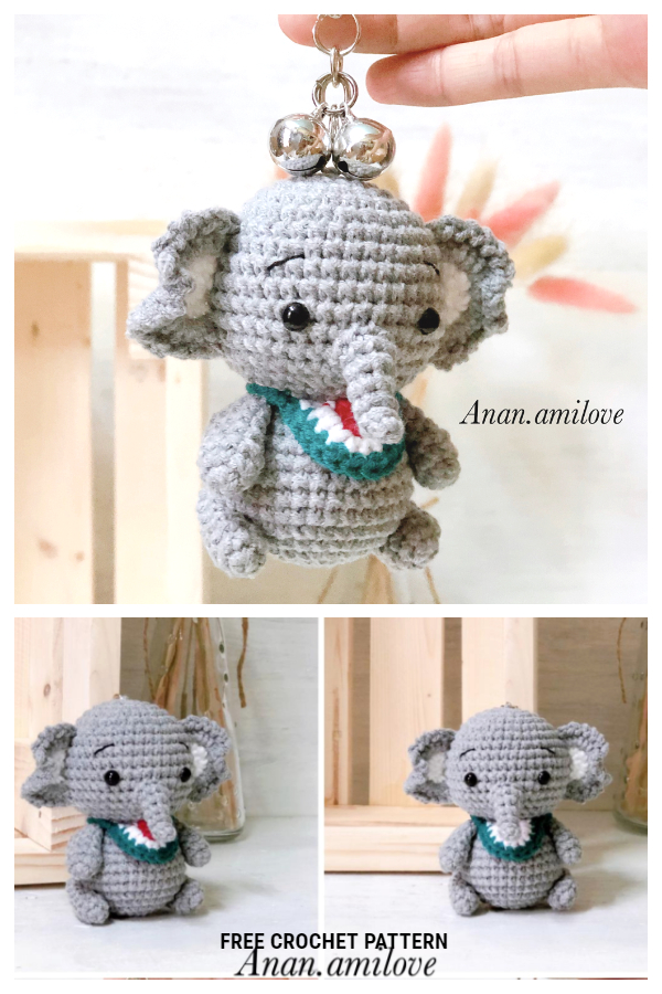 Crochet Elephant Keychain Amigurumi Free Patterns