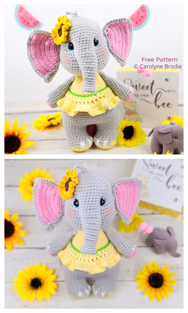 Crochet Sunny the Elephant Amigurumi Free Patterns