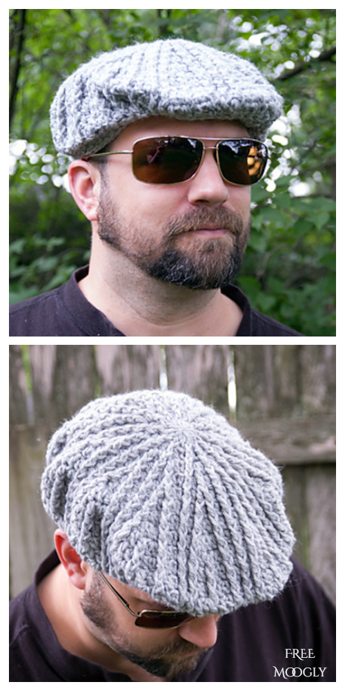 Men's Cabled Golf Cap Free Crochet Pattern