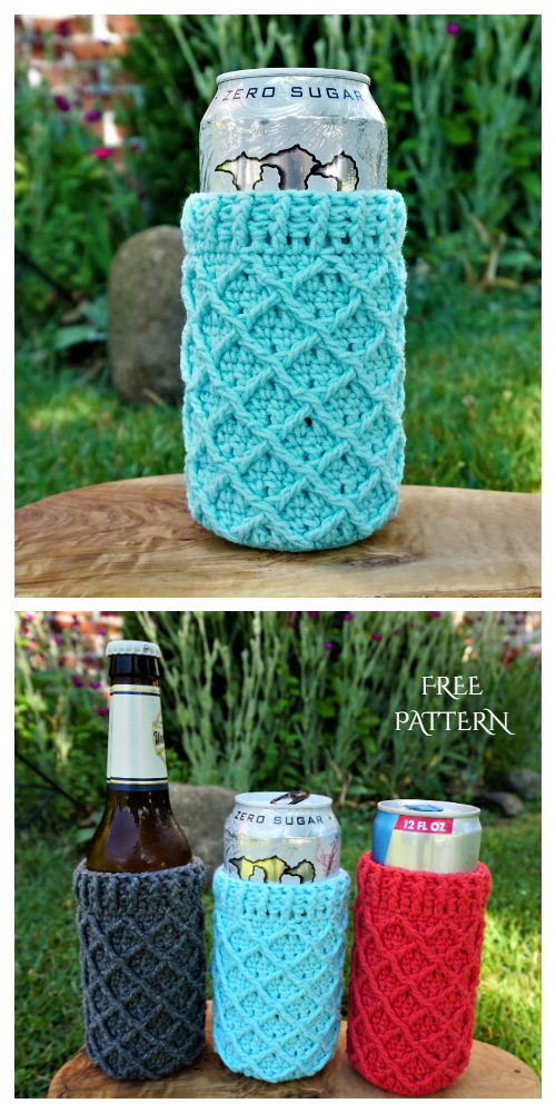Diamond Can Cozy Free Crochet Pattern