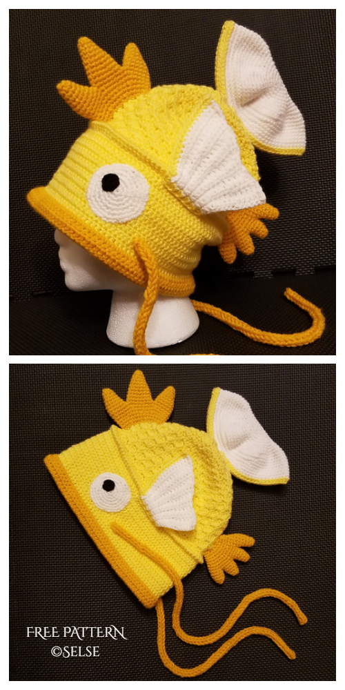 Fun Goldfish Monster Fish Hat Free Crochet Patterns