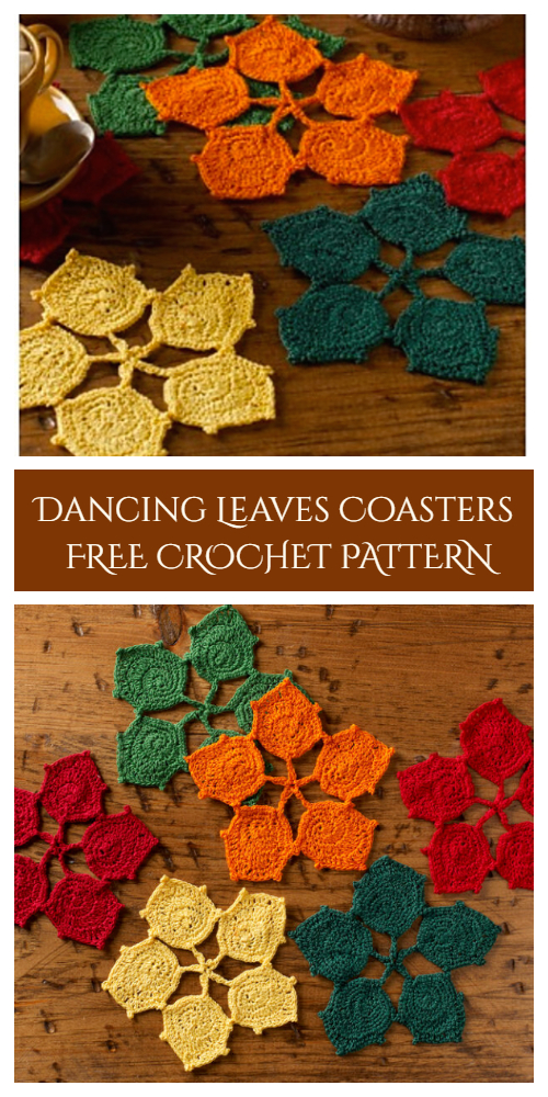 Dancing Leaves Coasters Free Crochet Patterns