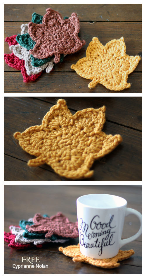Fall Maple Leaf  Coasters Free Crochet Pattern + Video