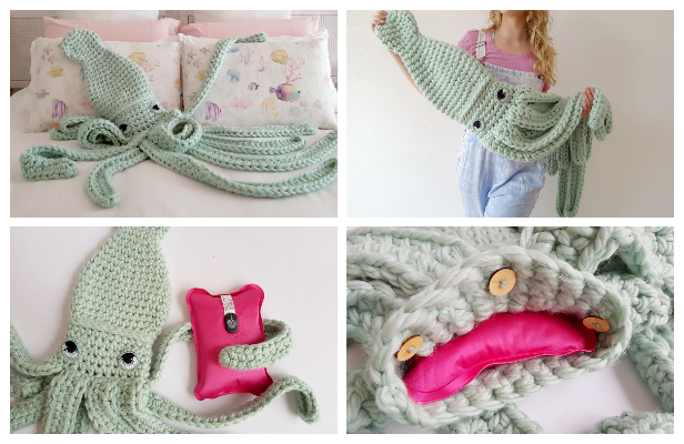 Giant Squid Hot Water Cozy Free Crochet Patterns