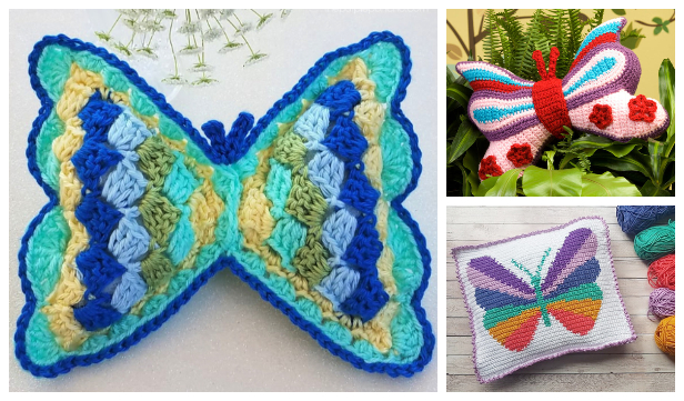 Kids Butterfly Pillow Free Crochet Patterns