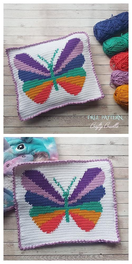 Kids Butterfly Pillow Free Crochet Patterns