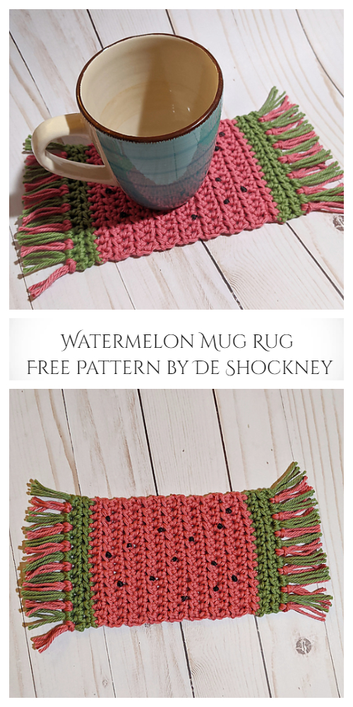 Watermelon Mug Rug Coaster Free Crochet Patterns