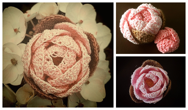 3D Peony Flower Free Crochet Patterns