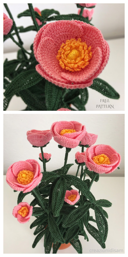 Peony Flower Bouquet Free Crochet Patterns + Video