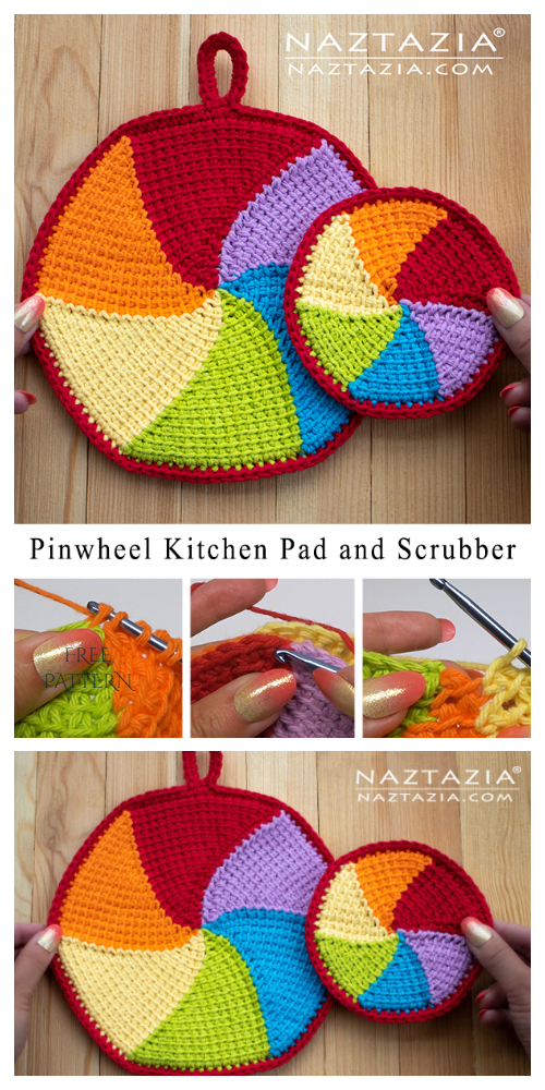 Pinwheel Kitchen Pad Potholder Free Crochet Patterns